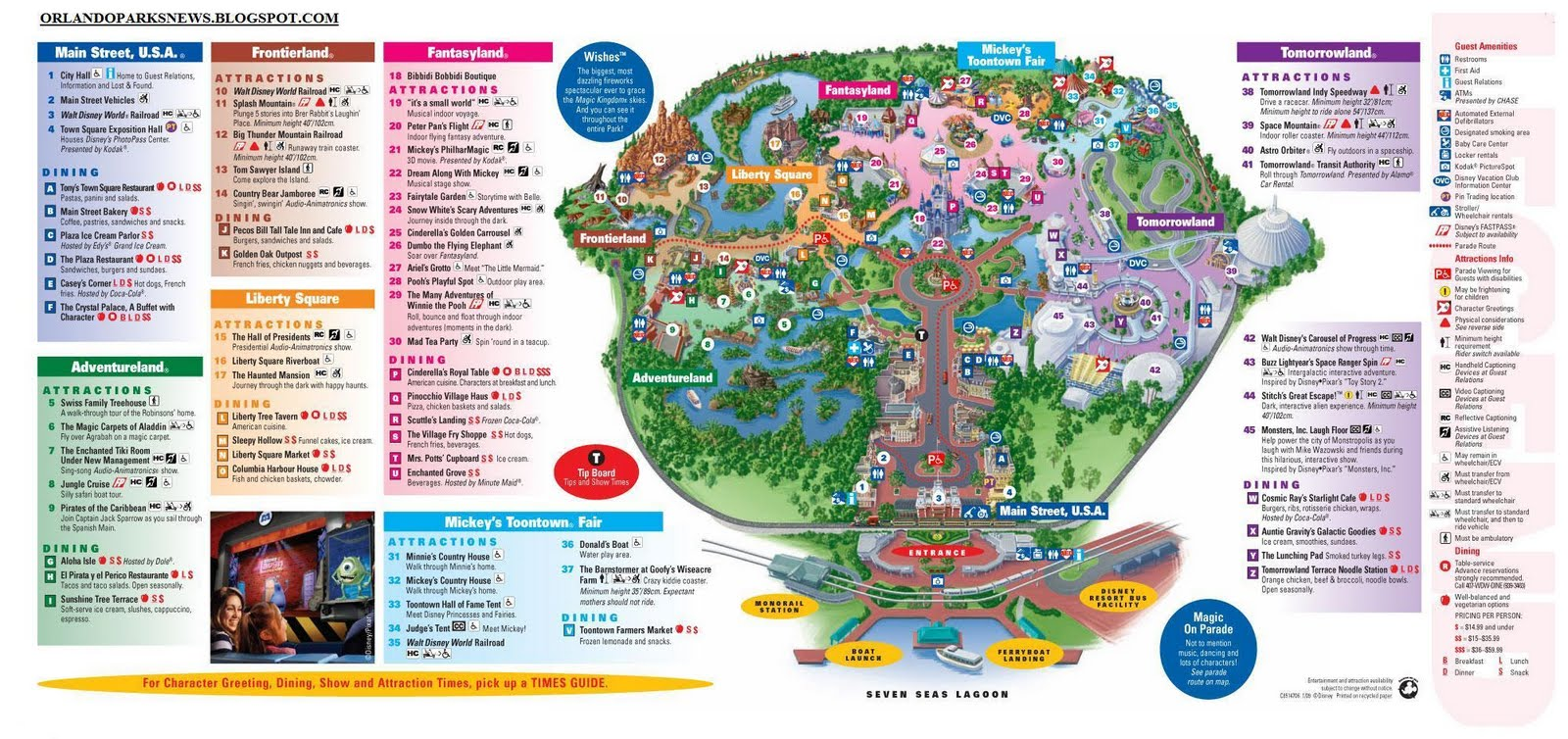 Magic Kingdom Map 2010 Magic Kingdom Guide Map 2010
