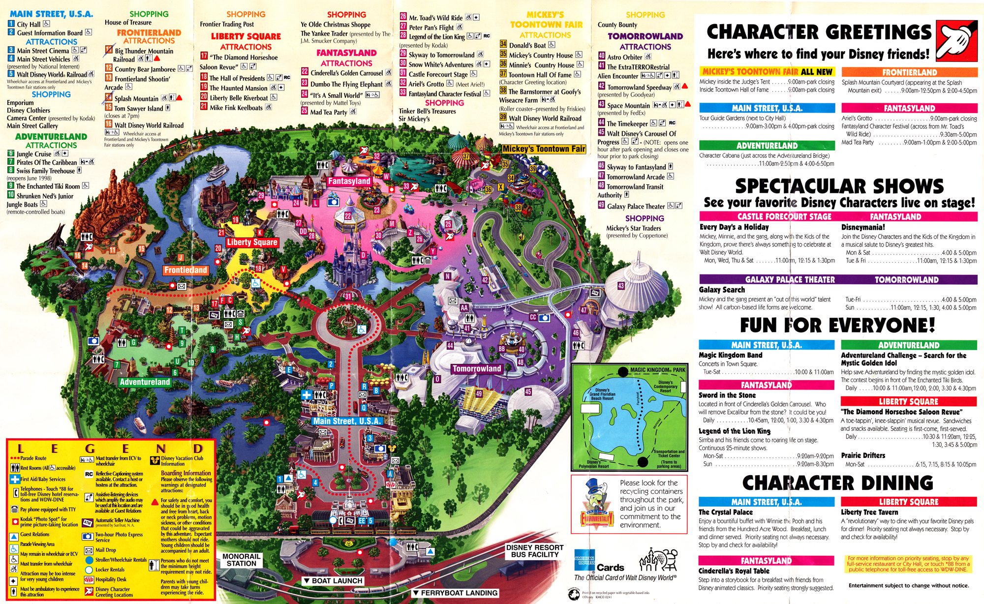 Magic kingdomthen now blogging disney magic kingdom guide map 1998 gumiabroncs Image collections