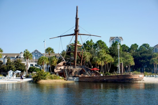 View of Stormalong Bay's pirate ship from Crescent Lake