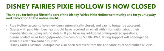 Pixie Hollow Closed